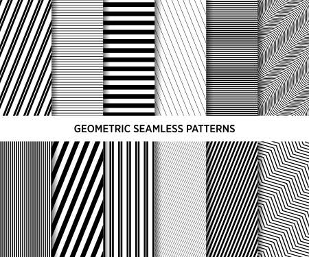 Collection of seamless geometric lines minimalistic patterns.
