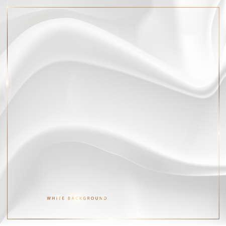 White background. Elegant textile. Fine silk fabric. Gold decoration, golden frame and text. Ilustrace