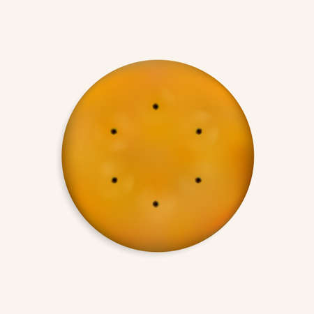 Realistic round cookie isolated on a white background.