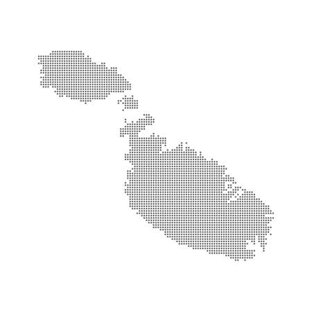 Abstract dotted polka dots map of Malta. Ilustrace