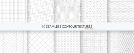 Collection of 10 seamless contour textures. Geometric tiled ornamental creative patterns. 向量圖像