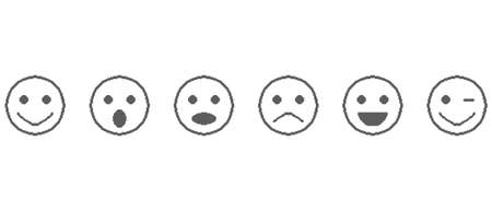 Set collection of pixel vector emoticon icons.. Excellent, good, normal, bad, awful.