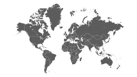Gray map of world with countries borders. Very high level of accuracy with satellite. 向量圖像