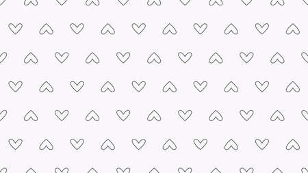 White seamless texture. Dotted abstract hearts. Vector background