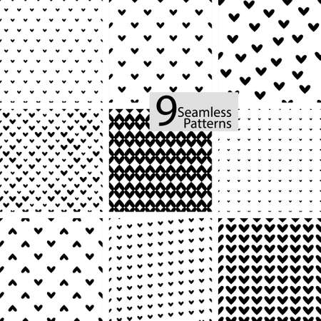 White seamless textures. Dotted abstract hearts set. Vector collection backgrounds