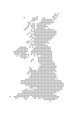 Dotted polka dot Great Britain United Kindom map.