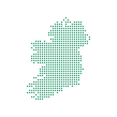 Dotted polka dots pixels map of Ireland, vector illustration.