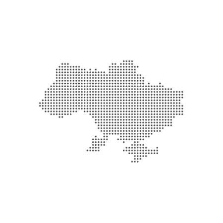 Dotted polka dots pixels map of Ukraine, vector illustration.