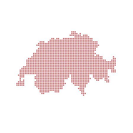 Dotted polka dots pixels map of Switzerland, vector illustration 向量圖像