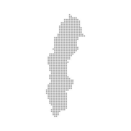 Dotted polka dots pixels map of Sweden, vector illustration.