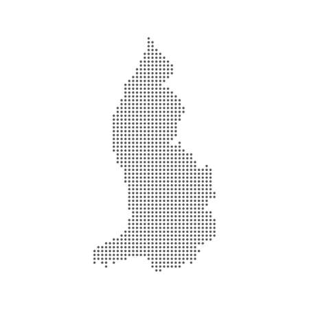 Dotted polka dots pixels map of Liechtenstein, vector illustration.