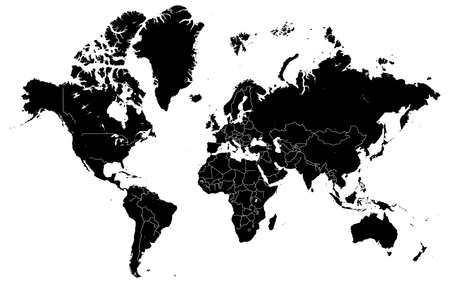 Black map of world with countries borders. Very high level of accuracy with satellite