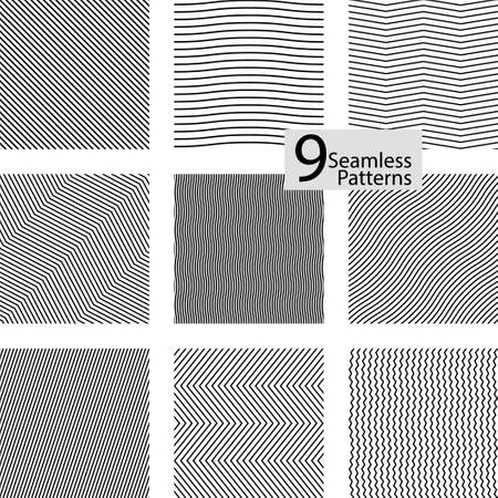 Collection of striped seamless geometric patterns. Minimalistic simple strip design.