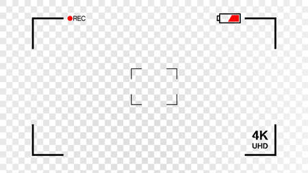Camera viewfinder rec isolated on transparent white background. Record video snapshot photography. 4K resolution display aspect ratio or fullhd.