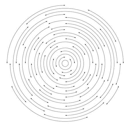 Uniform transition of circles from small to large. Random interruption and arrows at the ends. Concertion for your design, web, site, banner, poster