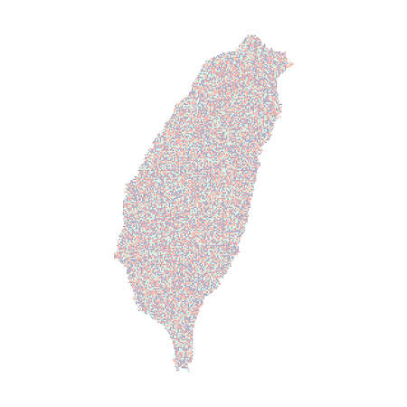 Taiwan map consisting of small dots, multicolored 2020 popular colors