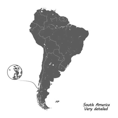 South America detailed vector map.