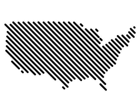 Vector USA Map Abstract Rounded Lines Striped networking. 向量圖像