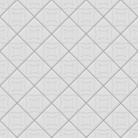 White tiles with realistic shadow pattern. Vector texture
