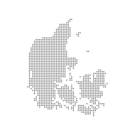 Dotted polka dot particle pixel map of Denmark. Vector eps10.