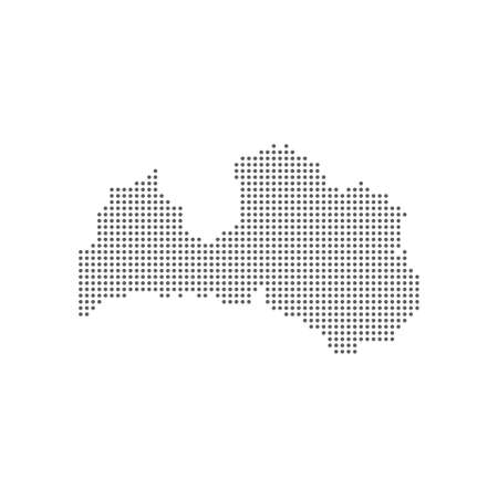 Dotted polka dot pixel particle map of Latvia. Vector eps10. 向量圖像