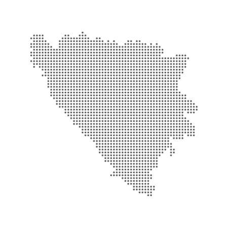 Abstract dotted polka dot pixel particle map of Bosnia & Herzegovina. Vector illustration eps10 向量圖像