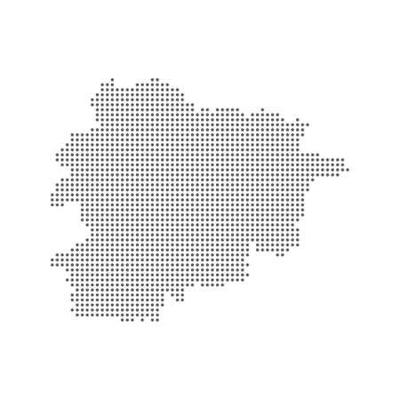 Abstract dotted polka dot pixel particle map of Andorra. Vector eps10.