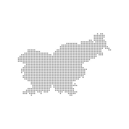 Abstract dotted polka dot pixel particle map of Slovenia. 向量圖像