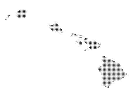 Abstract dotted polka dot pixel particle map of Hawaii. 向量圖像