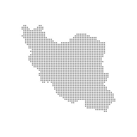 Abstract dotted polka dots pixel particle Iran map.