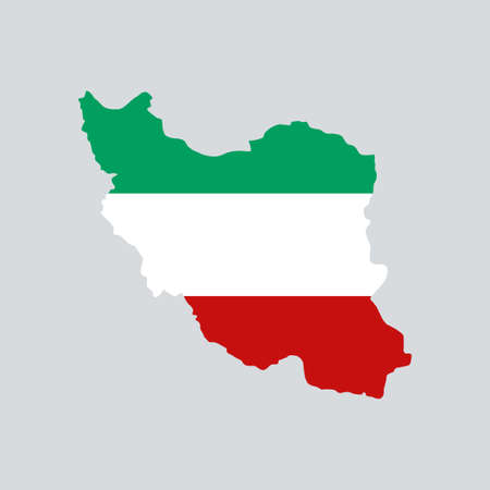 Iran map with flag inside.