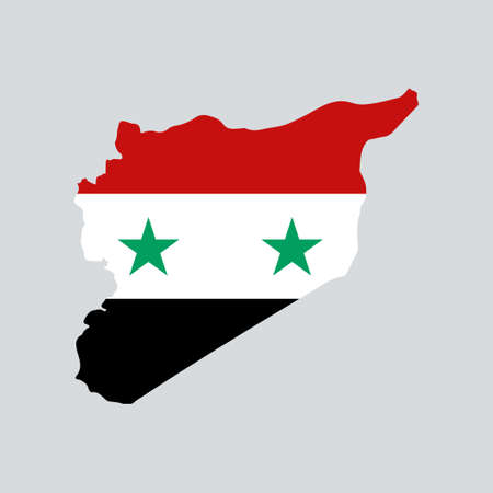 Syria map with flag inside.