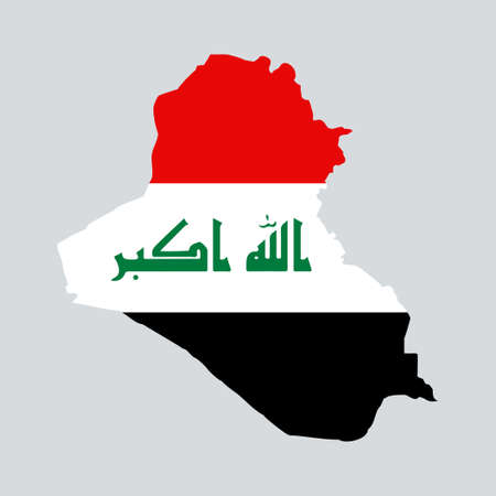 Iraq map with flag inside. Vector eps10.