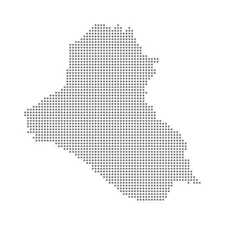 Abstract dotted polka dots pixel particle Iraq map. Vector eps10.