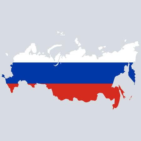 Mapa de Rusia con bandera en el interior. Eps10 vector.