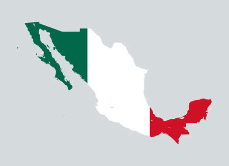 High level detailed map and flag inside Mexico. Very accurate map layout satellite. Traced all the islands