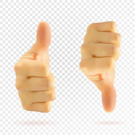 Realistic like. Thumb up. Thumb down. Left hand, right hand. Vector.