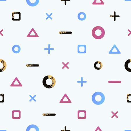 Seamless geometry shapes, stylish modern colorful pattern. 向量圖像