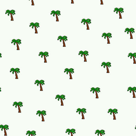 Vector pixel dotted art palm tree seamless pattern