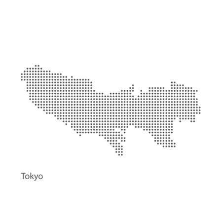 Dotted Tokyo map. Vector eps10