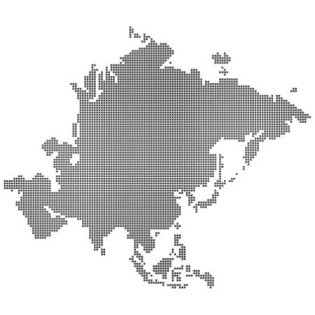 Square pixel dot dotted particle map of asia