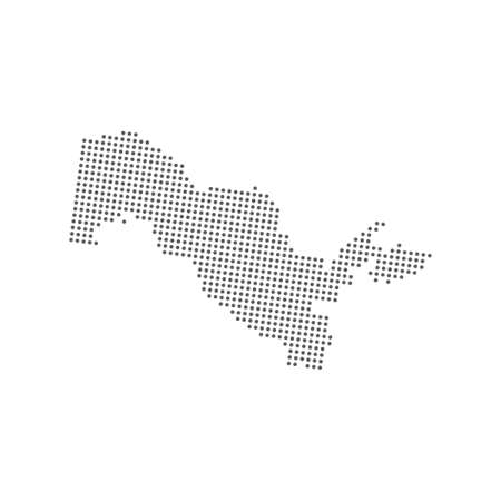 Abstract dotted polka dot particle map of Uzbekistan Illustration