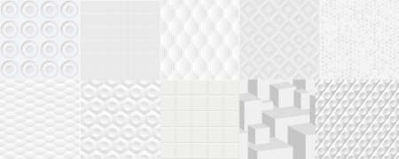 Set of vector seamless tiled patterns patterns. Monochrome stylish clean wallpaper.