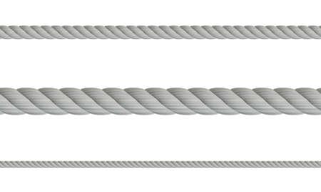 Satz realistische Seile 3d, lokalisiert auf weißem Hintergrund. Graues Seil mit unterschiedlicher Schnurstärke. Vektorillustration von verdrehten dicken Knotenlinien. Nahtloses Muster des Seils Vektorgrafik