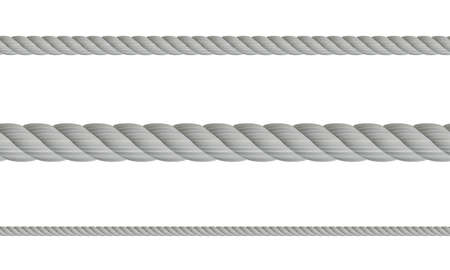 Set of realistic 3d ropes, isolated on white background. Different twine gray thickness rope. Vector illustration of twisted thick knot lines. Rope seamless pattern Ilustração Vetorial