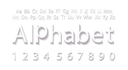 3D Alphabet template. Volumetric white alphabet design