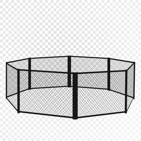 MMA cage. Octagon isometric view. Vector flat illustration.