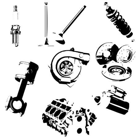 Icons set auto parts. Vector sketch Ilustrace