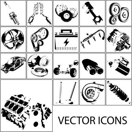 Icons set auto parts. Vector sketch Ilustrace