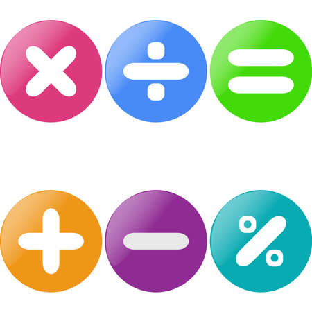 Colored glossy buttons with mathematical sign with drop shadow. Иллюстрация